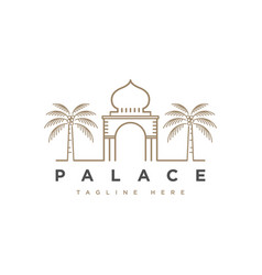 palace with palm tree logo design symbol te vector image