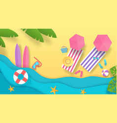 paper cut summer beach vacation background with vector image
