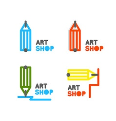 Pencil logo Outline pencil icon Stationery store vector image