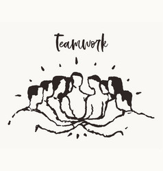 people putting hand togetherness teamwork a vector image