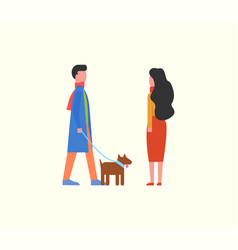 people walking dog on leash couple domestic pet vector image