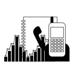 phonebook and phone with statistics vector image