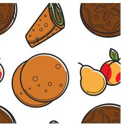 pita bread or lavash pear and peach seamless vector image