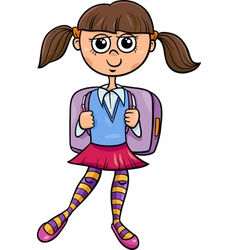 Primary school girl cartoon vector