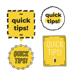 Quick tips set isolated on white background vector