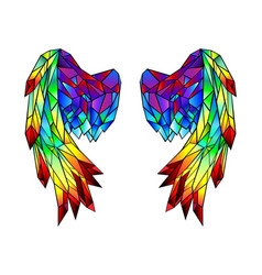 rainbow polygonal folded wings vector image