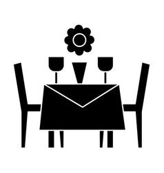 Restaurant table with chairs icon vector