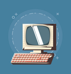 retro computer icon image vector image