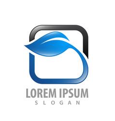 rounded square leaf logo concept design symbol vector image