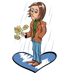 Sad young man waiting for date under the rain vector