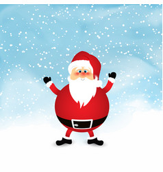 Santa on snowy watercolour background vector