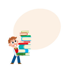 school boy holding huge stack pile of books vector image vector image