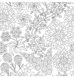 Seamless floral pattern in black and white colors vector