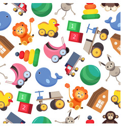 seamless pattern with colorful children s toys vector image