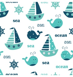 Seamless pattern with ships and whales vector