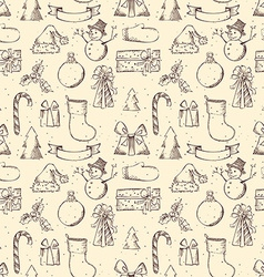 Seamless sketch Christmas pattern vector