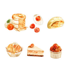 Set isolated watercolor pancake stuffed bread vector