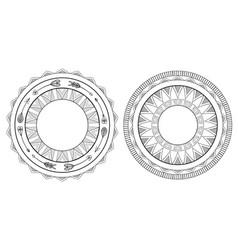 set of black and white boho framesnative pattern vector image