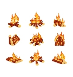 Set of campfires isolated on white background vector image