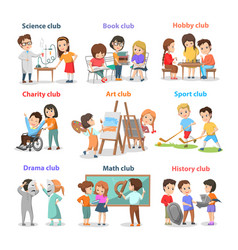 Set of different clubs for school children card vector