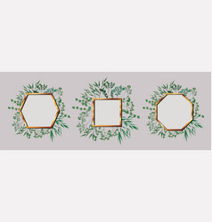 Set of geometrics golden frames and leafs vector
