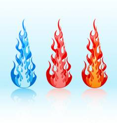 set of glossy flames vector image