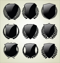 Shield and laurel wreath vector image