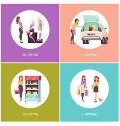 Shopping of women clothes and food set vector