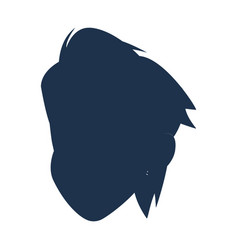 Silhouette head boy young avatar vector