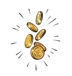 Sketch of falling gold coins set of shining metal vector