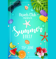 Summer party poster design vector