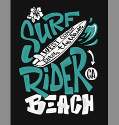 Surf rider print t-shirt graphic design vector