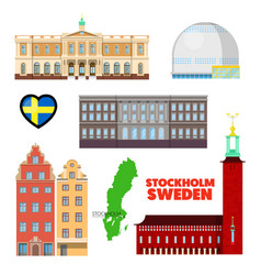 Sweden stockholm travel set with architecture vector