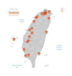 taiwan map with administrative divisions vector image