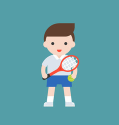 tennis player with racket cute character vector image