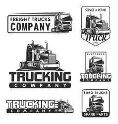 Truck logo set service and repair black white vector
