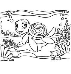 Turtles Coloring Pages vector image