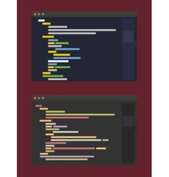 two color themes of developer code editor flat vector image