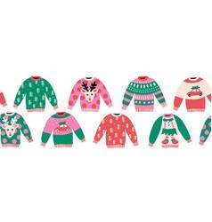 ugly christmas sweaters seamless border vector image