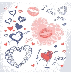 Valentine set with hearts Hand Drawn vector image