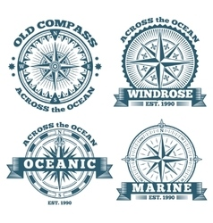 Vintage nautical labels emblems logo badges vector