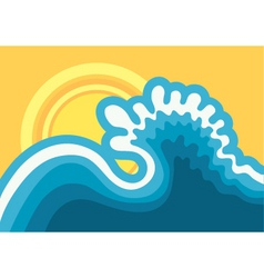 wave in oceanwater nature background with sun in h vector image