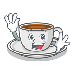 waving coffee character cartoon style vector image