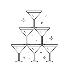 wedding pyramid from glasses line art icon vector image