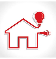 Wired Home Icon with bulb and plug vector image
