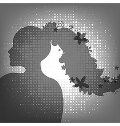 Woman And Flower vector image