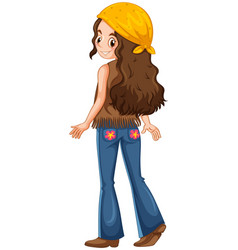 woman dressed in hippie clothes vector image