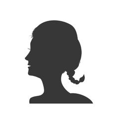Woman head silhouette female avatar icon vector