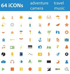 64icon adventure travel camera music vector image vector image