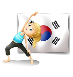 A girl exercising in front of the South Korean vector image vector image